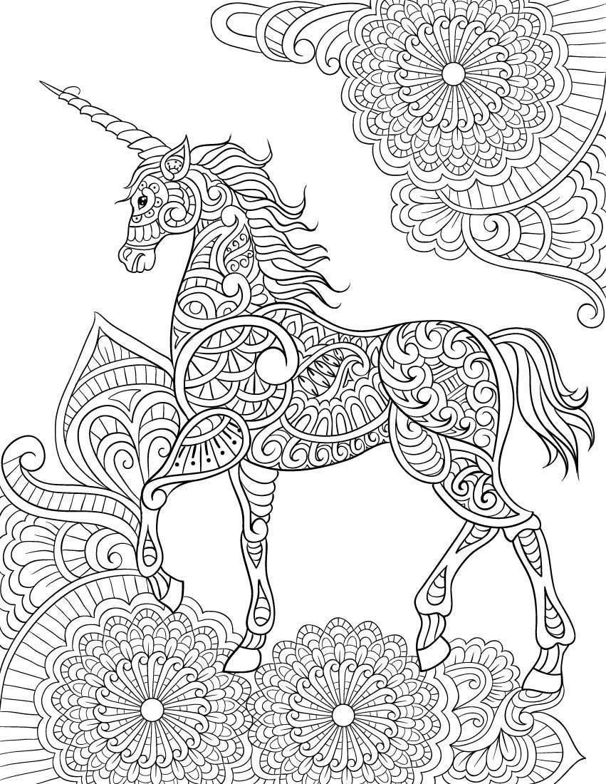 Unicorn Mandala Coloring Pages For Adults