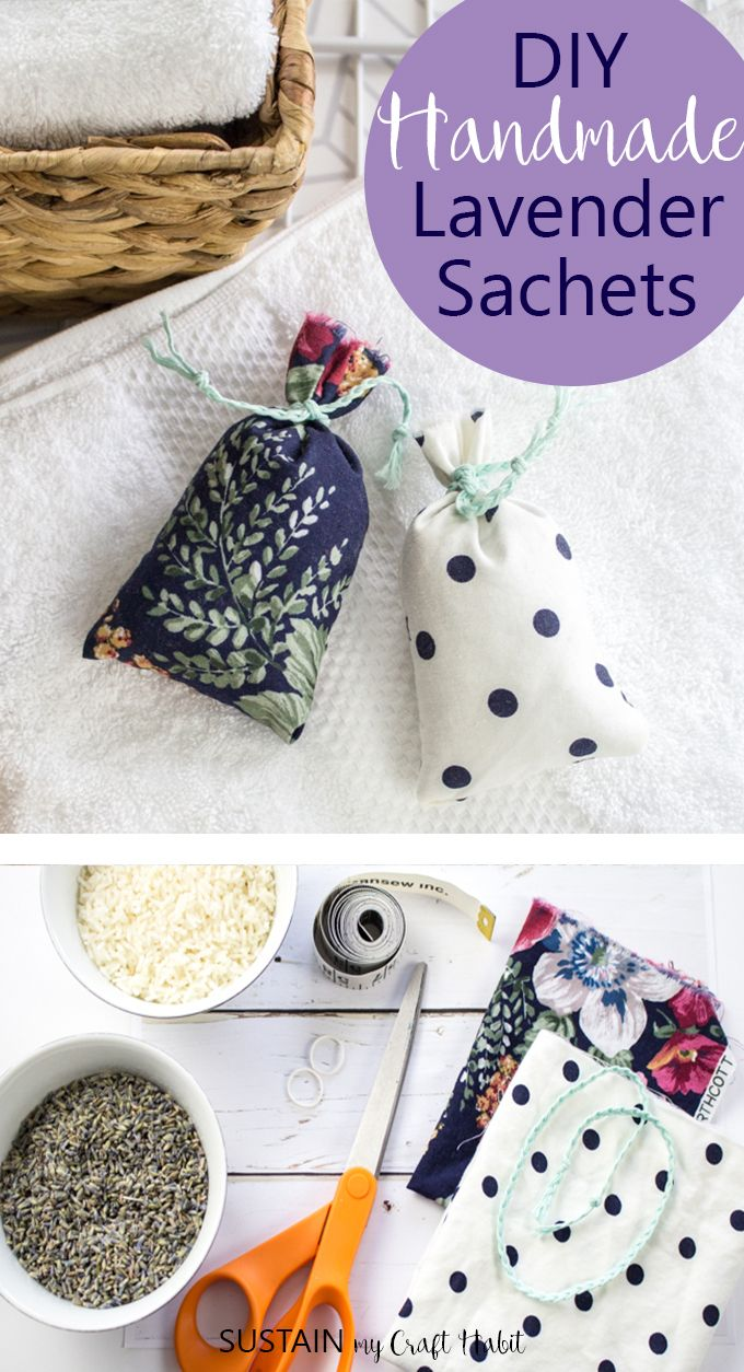 Keep your drawers scented lavender fresh with these homemade lavender sachets. Made simply with some pretty scrap fabric and dried lavender blooms.
