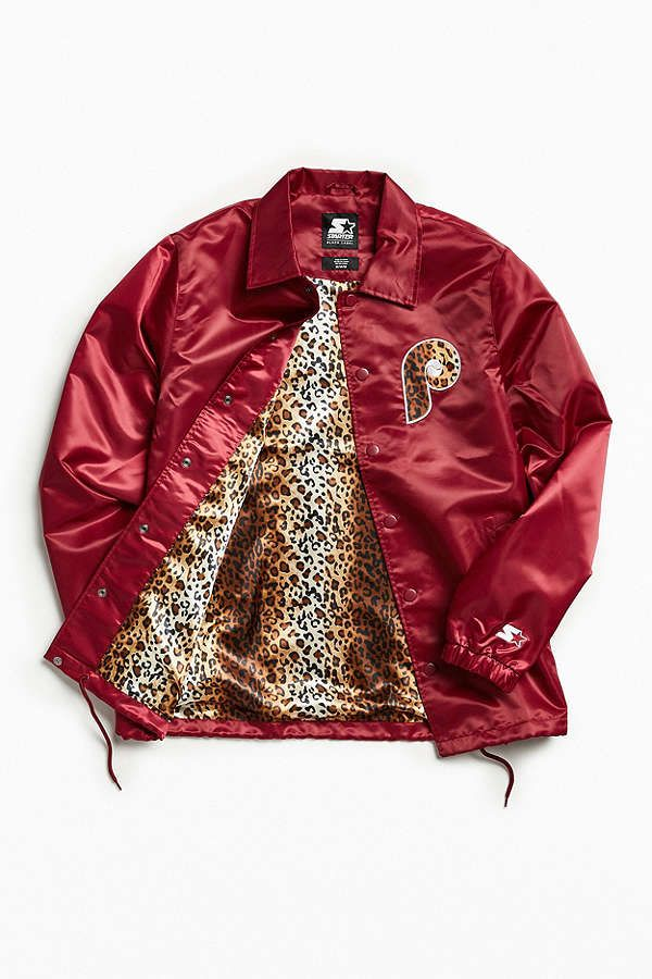 24b97cb636765 Slide View  1  Starter Black Label + UO Philadelphia Phillies Cheetah Coach Jacket  Men s