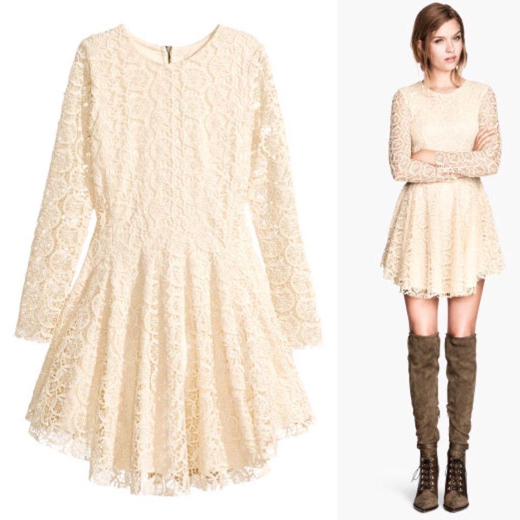 H&m lace dress white  HuM Cream Lace Circle Dress  Circle dress and Products