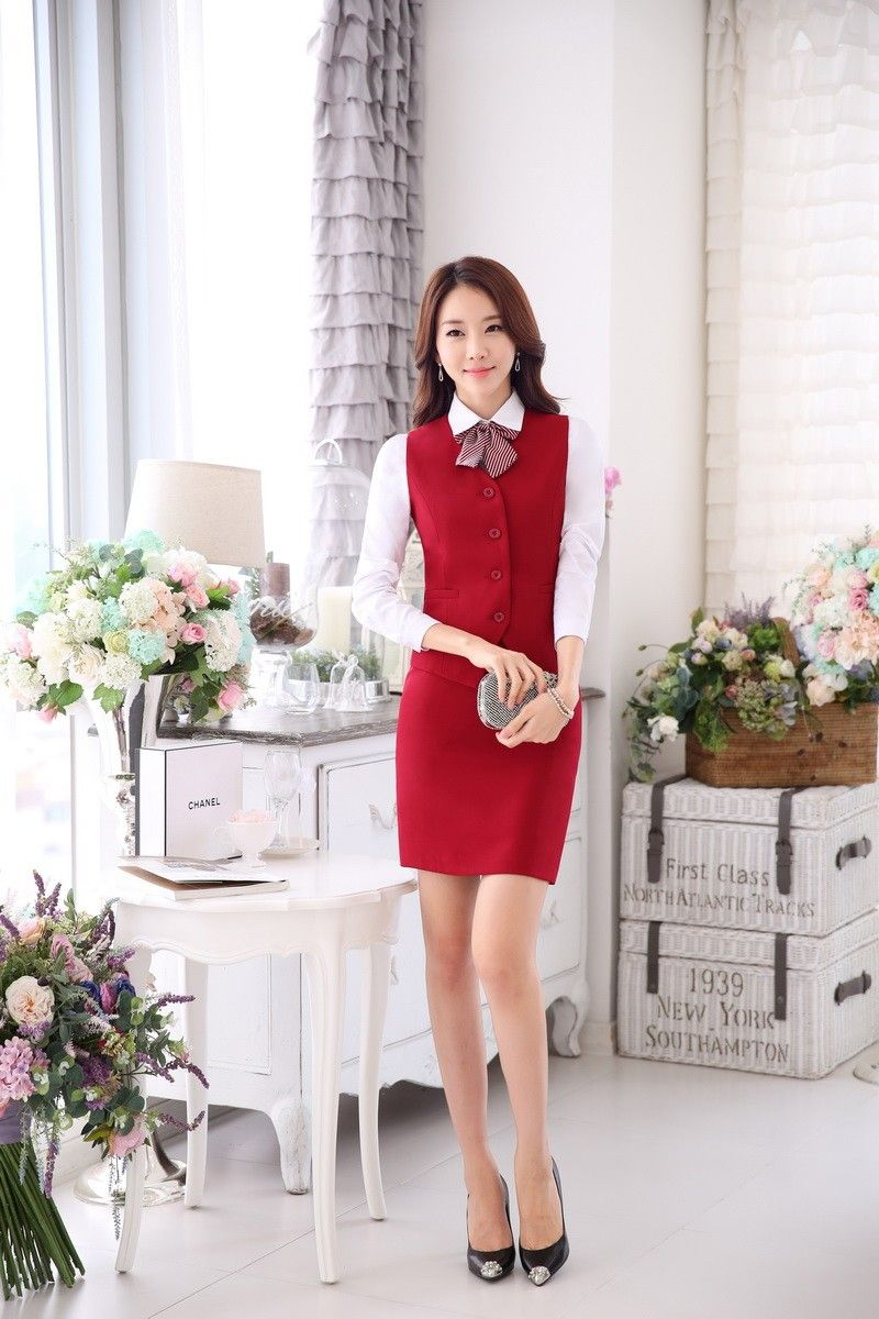 839ea89cd Moda mujeres trajes de negocios con falda y chaleco de juegos del chaleco  del desgaste del