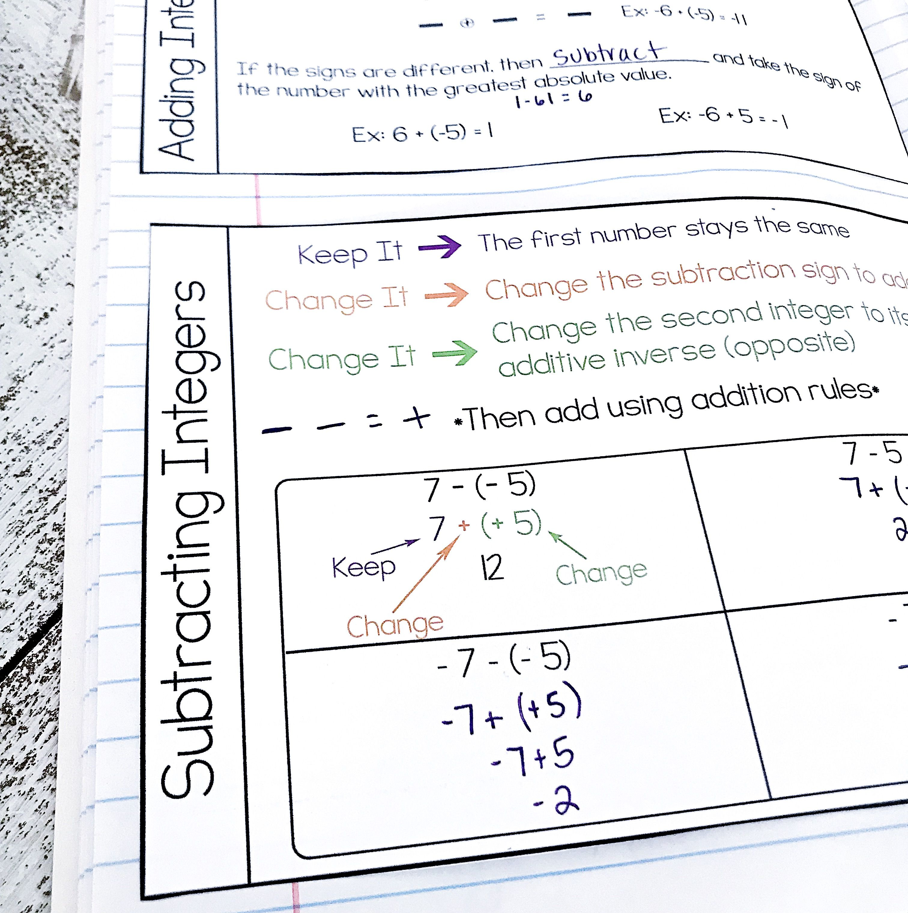 Subtracting Integers Interactive Notebook Notes