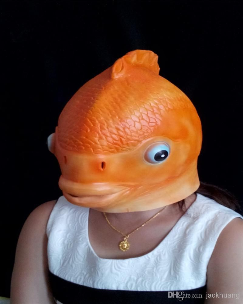 Goldfish Head Mask Creepy Animal Halloween Costume Theater Prop ...