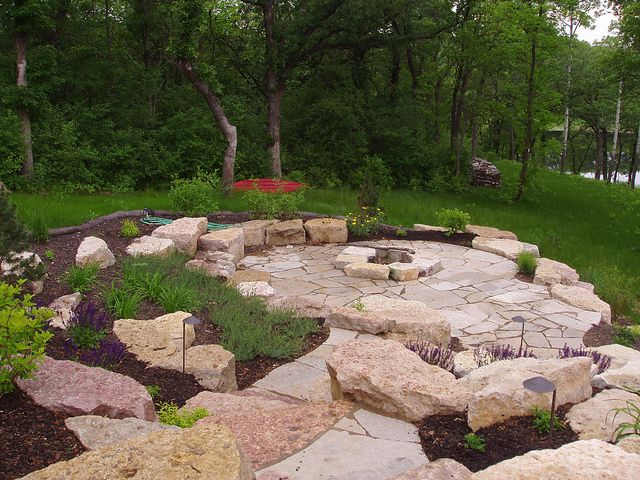 Limestone Outcropping And Flagstone Patio And Firepit Fire Pit