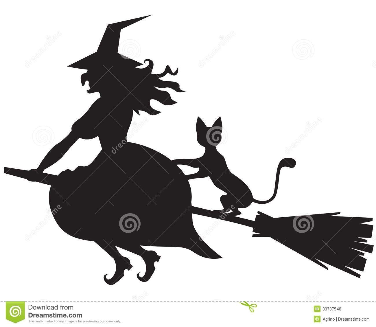 witch on broom silhouette silhouette of halloween witch with and