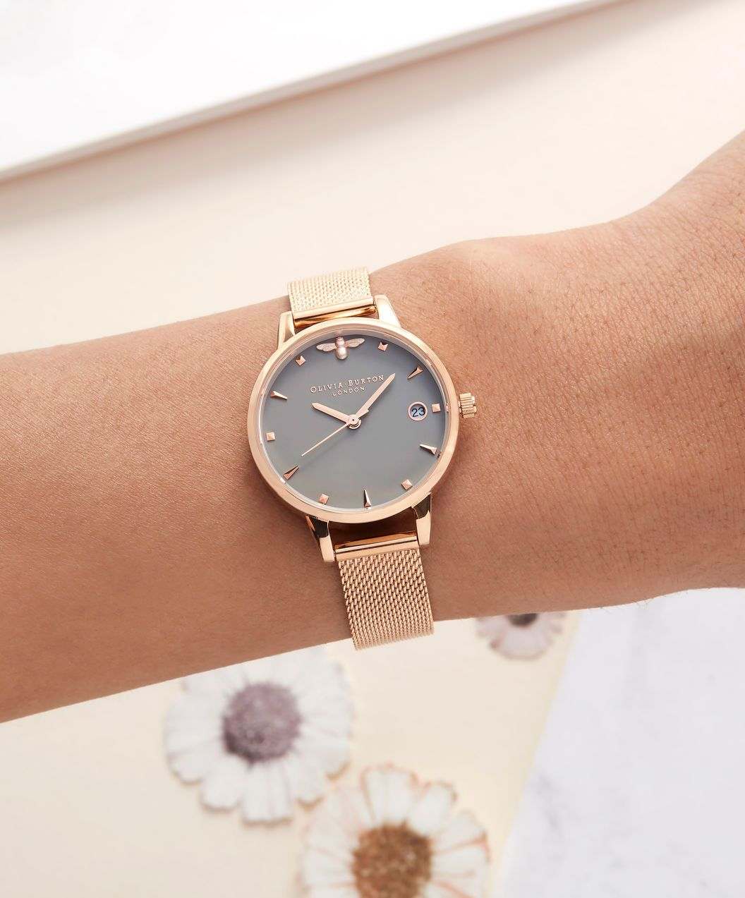 OLIVIA BURTON LONDON Queen Bee Rose Gold Mesh Watch OB16AM122 – Midi Dial  Round in White and Rose Gold - Other view f3bdfc2fee