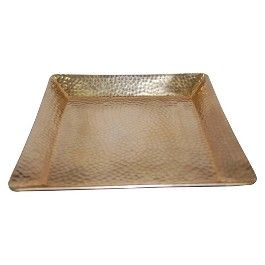 Threshold™ Squared Hammered Tray with Gold Finish
