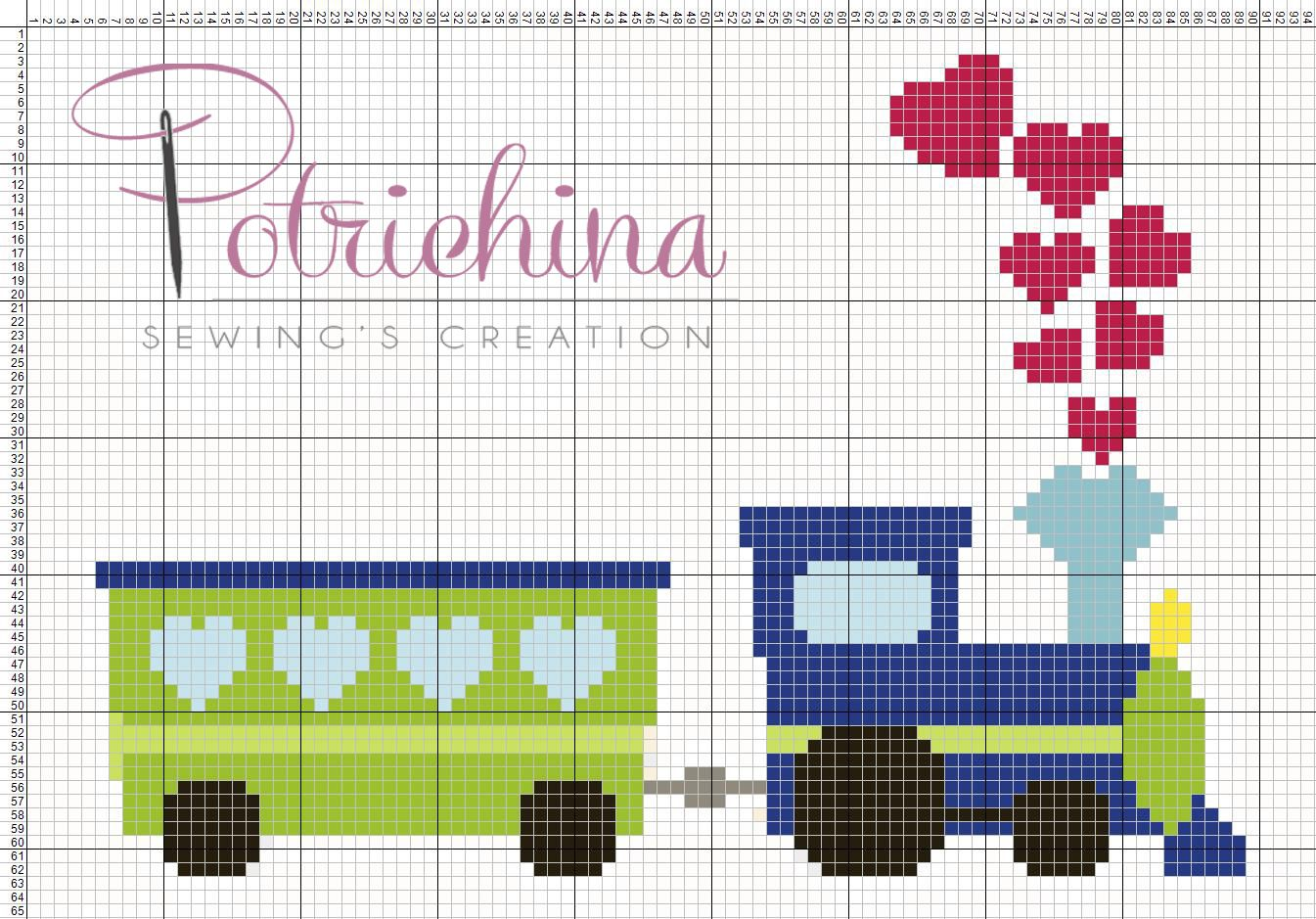 trenino treno bimbi schema punto croce cross stitch
