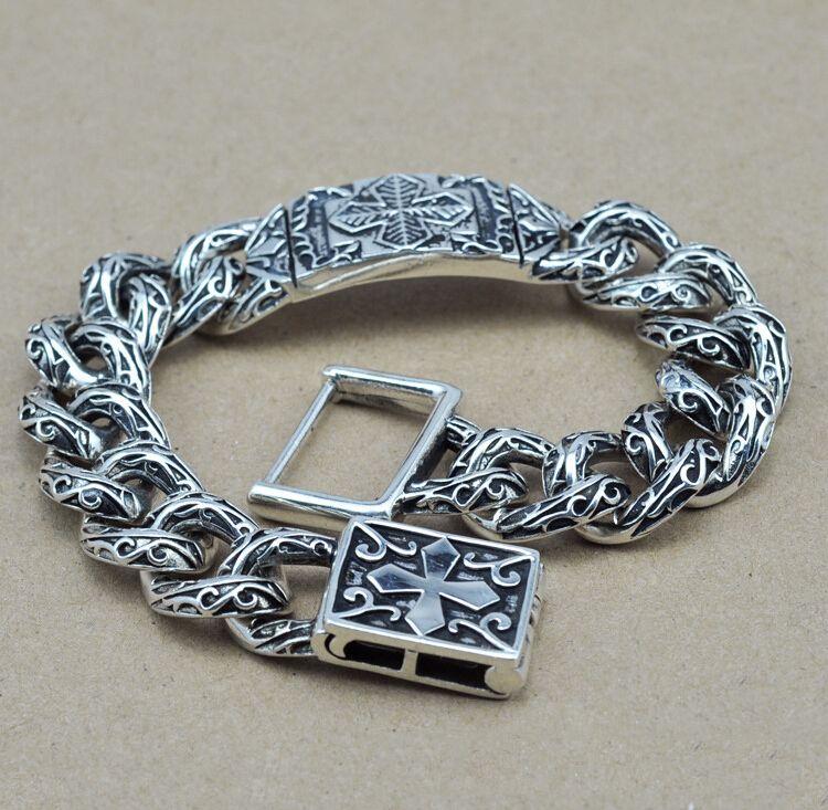 caf23b39fff1 Aliexpress.com  Comprar S925 Thai plata pulseras para hombre joyas fresco  cosecha fina estilo
