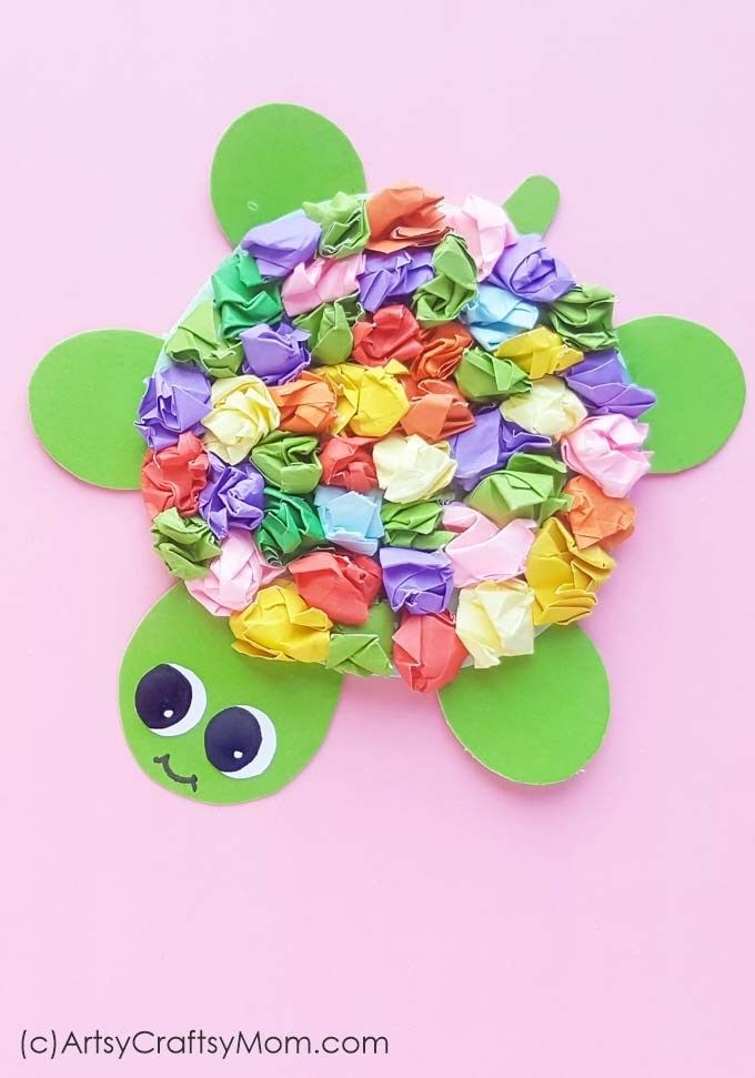 Crumpled Paper Turtle Craft for Kids