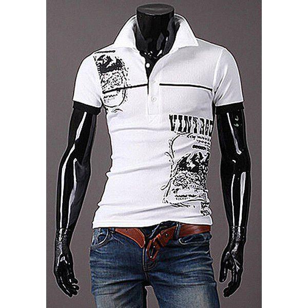 Men's Fashion Alphabet Print T-shirt Casual Slim Fit Long Sleeved POLO Shirt ZGtvRo