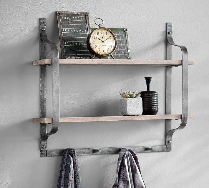 Fantastic Rustic Pine Shelf With Hooks Wall Shelf Rustic Decor Home Interior And Landscaping Spoatsignezvosmurscom