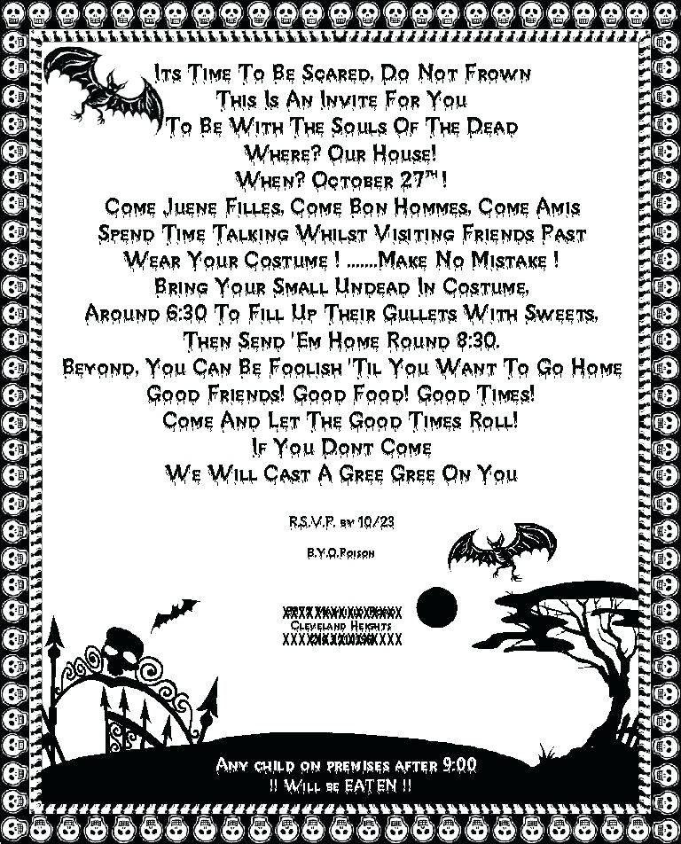 Halloween Party Invitation Wording Halloween