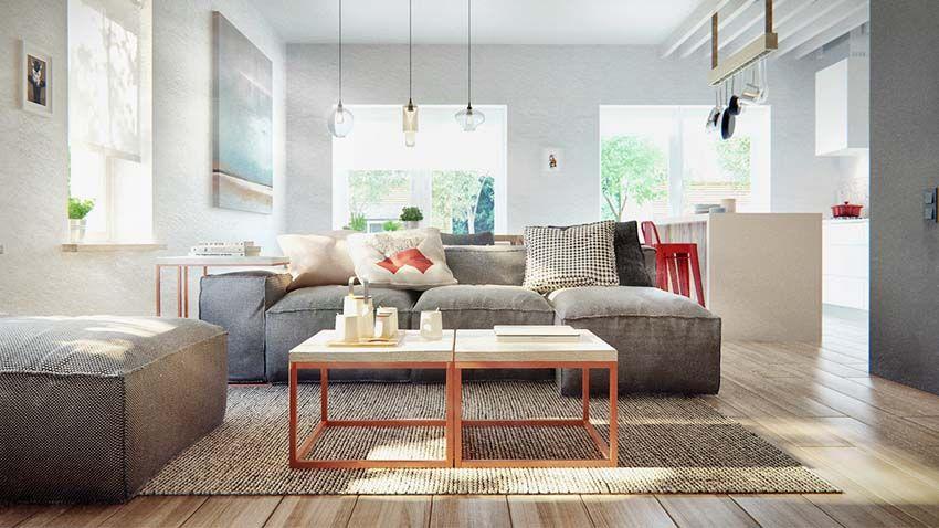 stile nordico, industrial e colore: un duplex a mosca progettato ... - Soggiorno Nordico