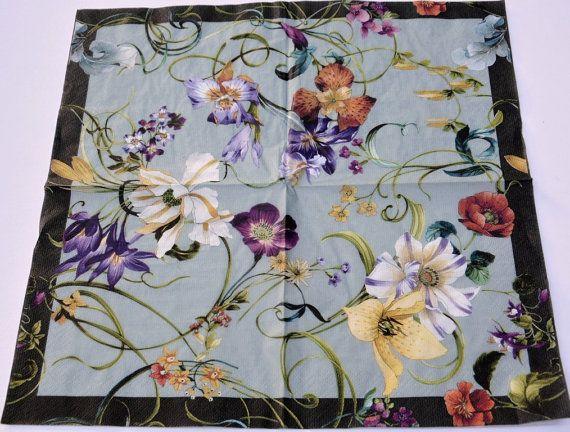 2 vintage flower paper napkins antique flowers designer by ywart