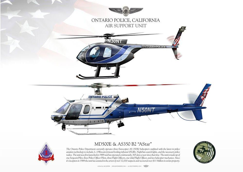 """ONTARIO POLICE, CALIFORNIA Air Support UnitAS-350B2 """"AStar"""" N50NT & MD500E N30NT"""