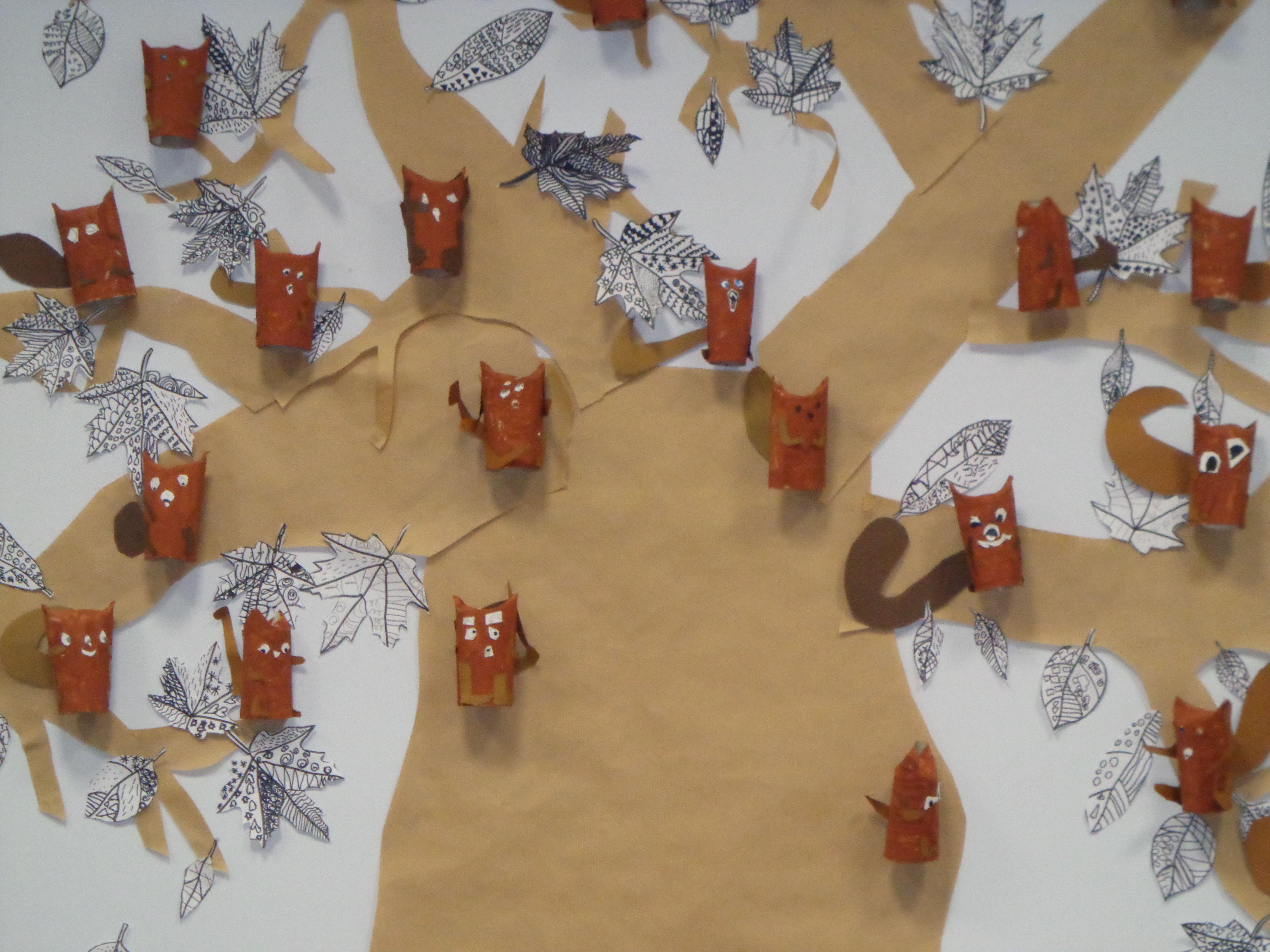 cureuils r alis s en rouleau de papier wc peinture et collage cp novembre arts plastiques. Black Bedroom Furniture Sets. Home Design Ideas