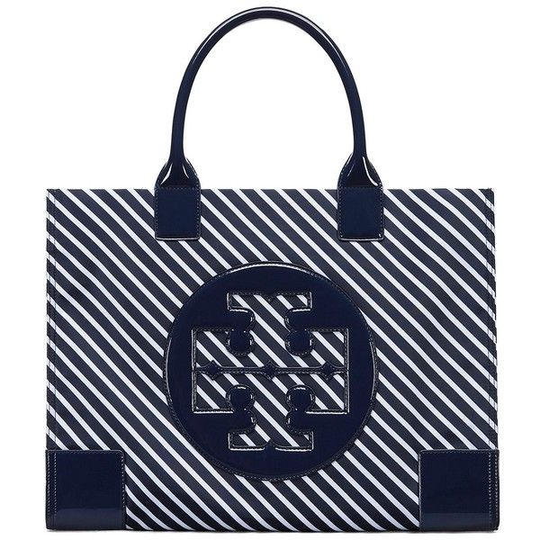 e0f880f7b7ec Tory Burch Ella Stripe Tote (265 CAD) ❤ liked on Polyvore featuring bags