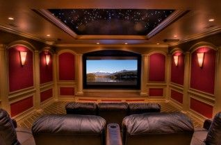 this amazing family-sized home theater with star-gazing moon roof and big leather sofas!
