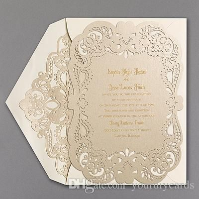 Fancy Laser Cut Invitation Card Floral Hollow Out Wedding With Lining Envelope Made In China Accept Custom Design Birthday Greeting
