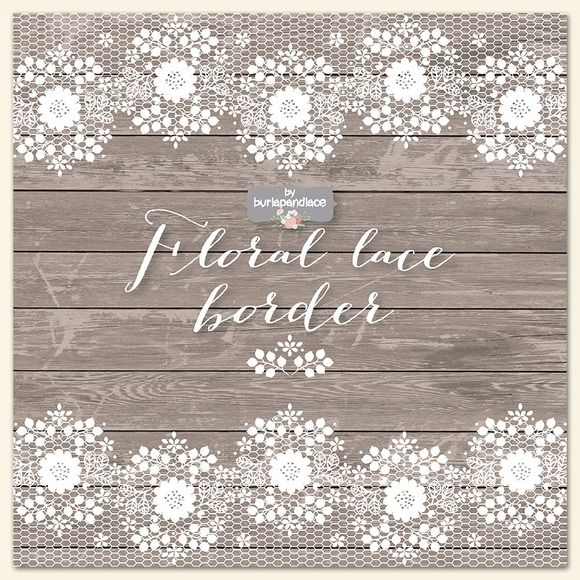 Floral Lace Border Clipart Wood By Burlapandlace On Creative Market