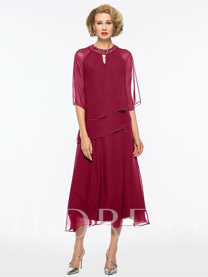 5c1d4158fe2 Jewel Neck Beading Tea-Length Mother Of The Bride Dress in 2019 ...