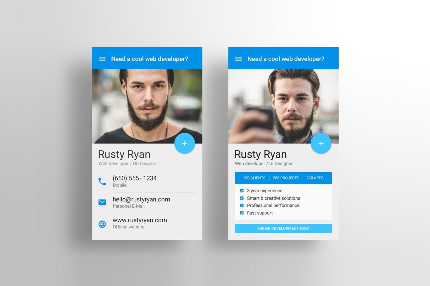 Material Design Business Card Psd Template By Vinyljunkie On