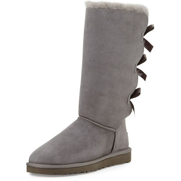 UGG Australia Bailey Tall Bow-Back Boot ($250) ❤ liked on Polyvore featuring shoes, boots, chestnut, mid-calf boots, bow back boots, round toe boots, fur lined flats, flat shoes and fur lined boots