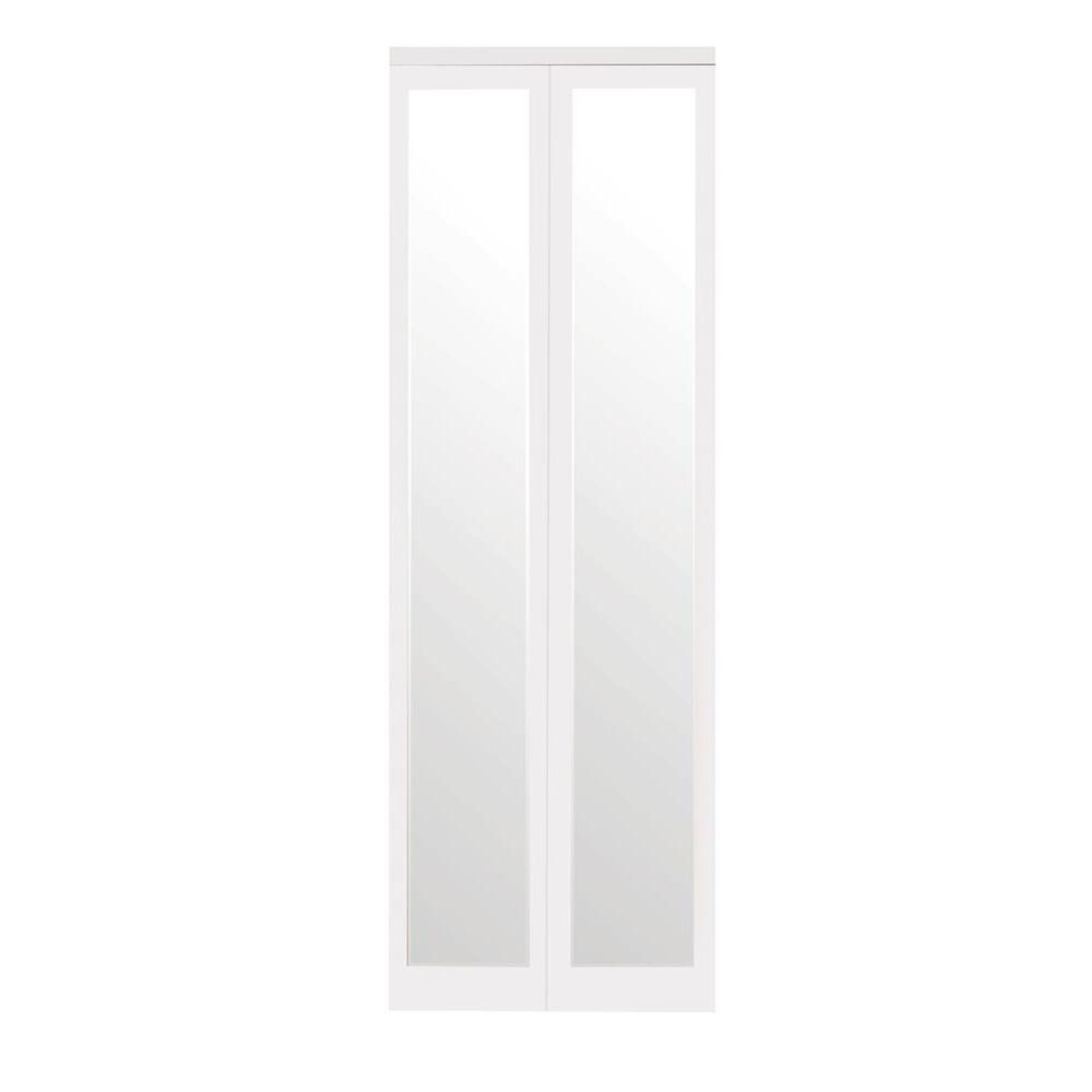 Impact Plus 30 In X 80 In Mir Mel Mirror Solid Core White Mdf Full Lite Interior Closet Wood Bi Fold Door With White Trim Bmmw342 3080m Mirrored Bifold Closet Doors Mirror Closet Doors Bifold Doors