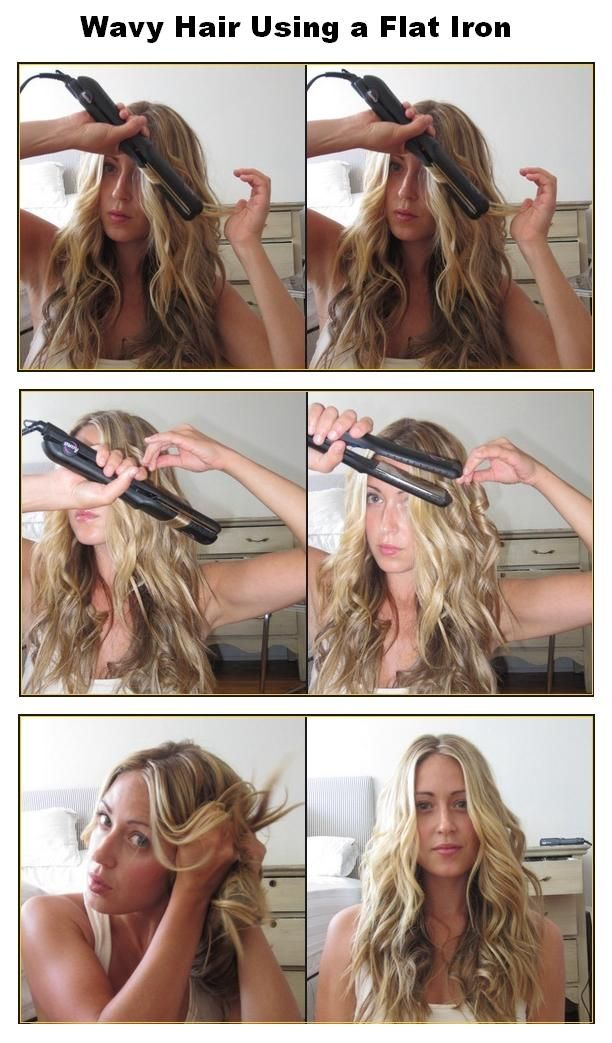 Beauty Tutorials How To Make Wavy Hair Using A Flat Iron Hair Styles Curly Hair Styles Hair