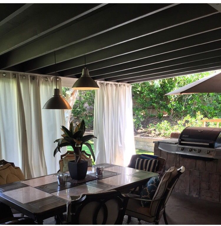 Superb Painted Our Patio Ceiling In A Grey Colored Ralph Lauren Paint. White Drapes  From Ikea