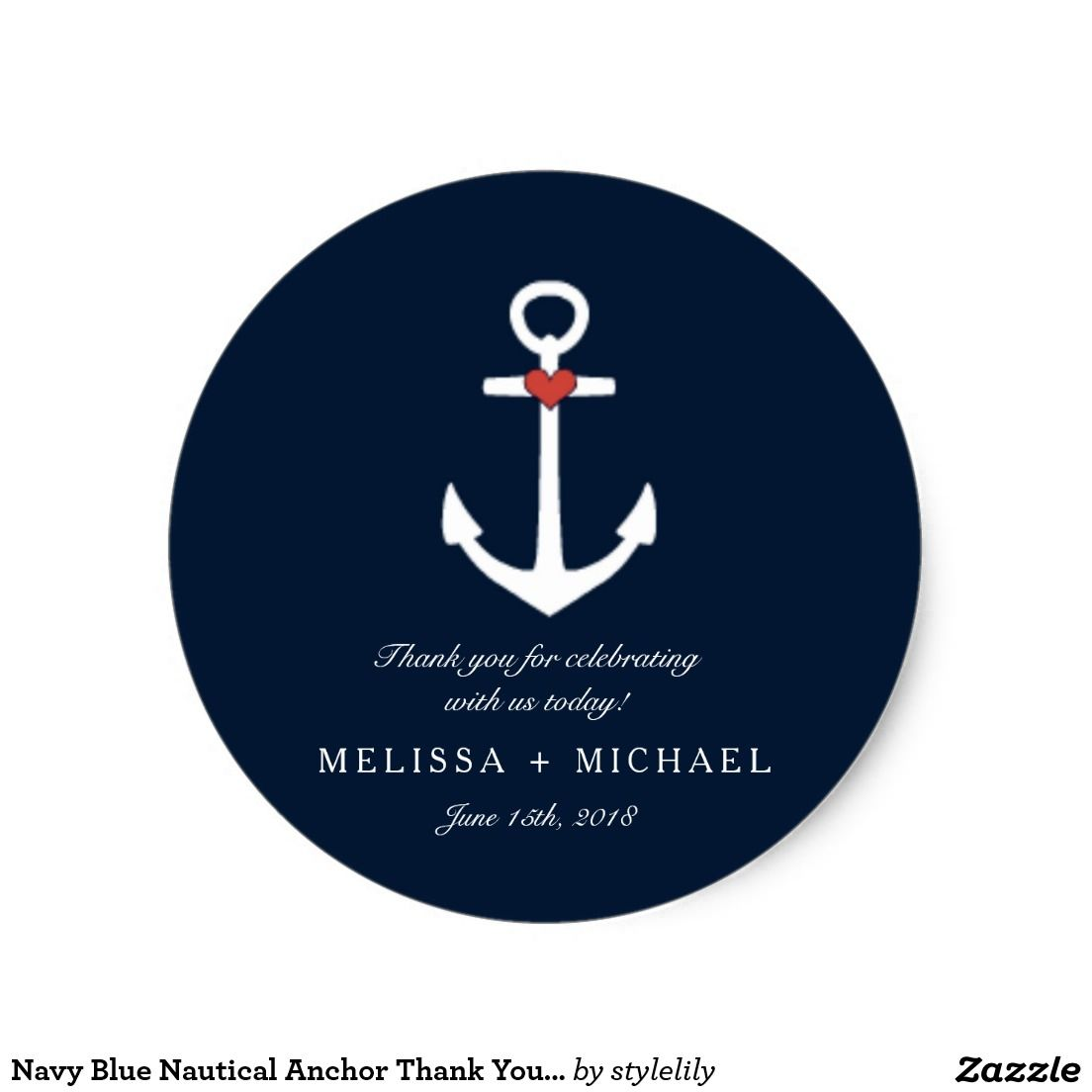 Navy Blue Nautical Anchor Thank You Stickers Sold Thank You To The