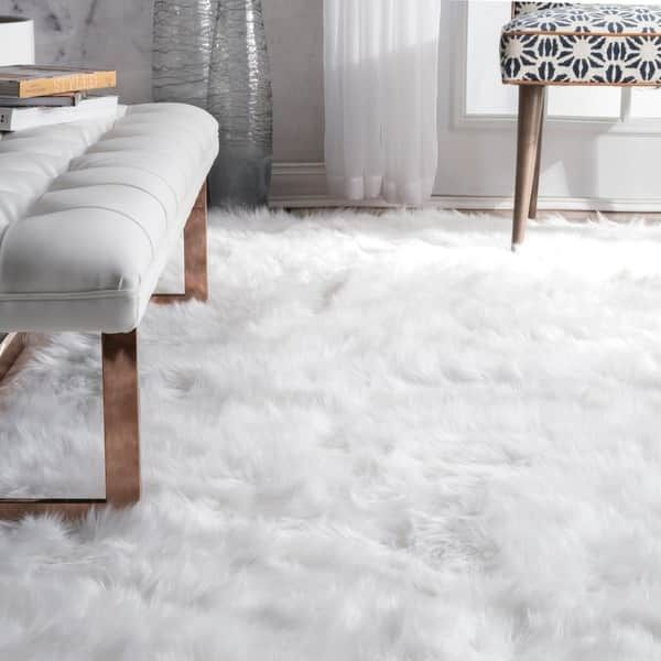 Nuloom Faux Flokati Sheepskin Soft And Plush Cloud White Shag Area