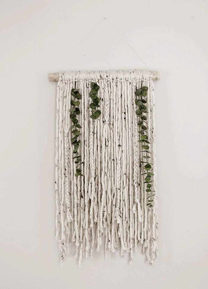 Yarn And Eucalyptus Wall Hanging Diy Yarn Wall Art