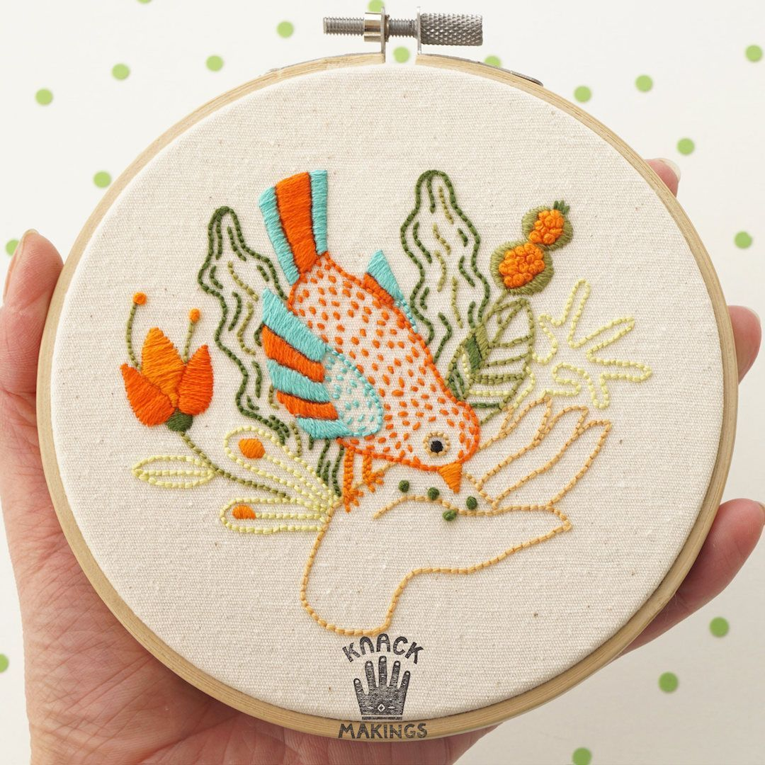 Modern hand embroidery patterns for galentineus day hand