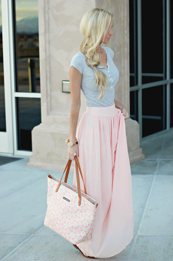 1f231437e Pins And Needles Yoke Chiffon Maxi Skirt in Blush (also available in Black)  || Urban Outfitters #style