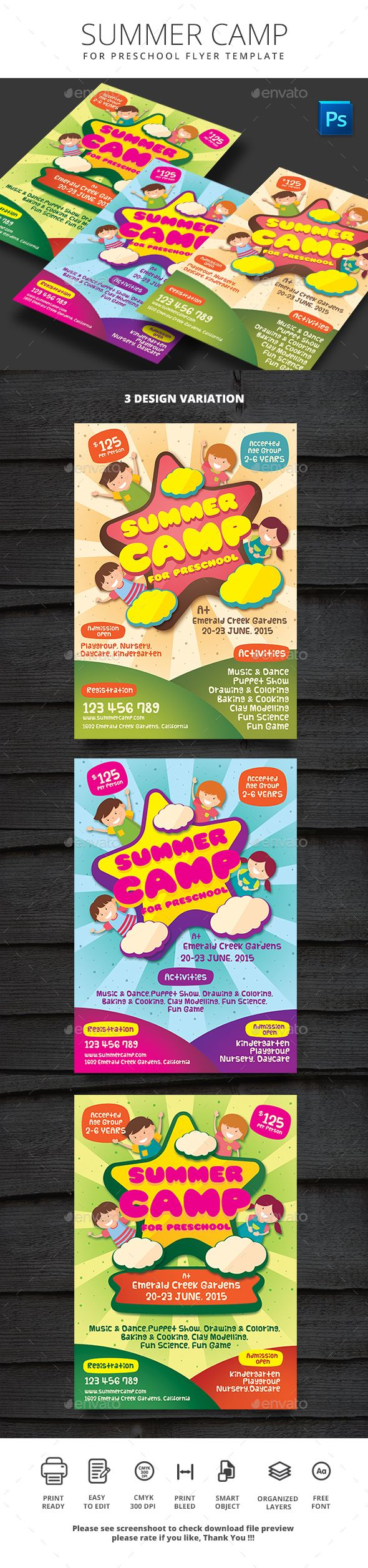 Summer Camp For Preschool  Psd Flyer Templates Flyer Template