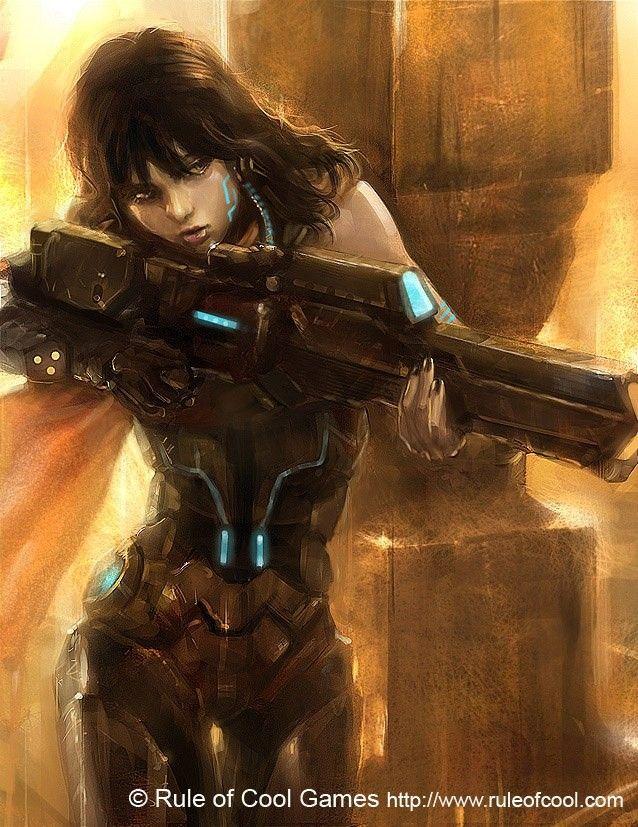 Sci Fi Sniper Girl Cyberpunk Art Sniper Girl Cyberpunk