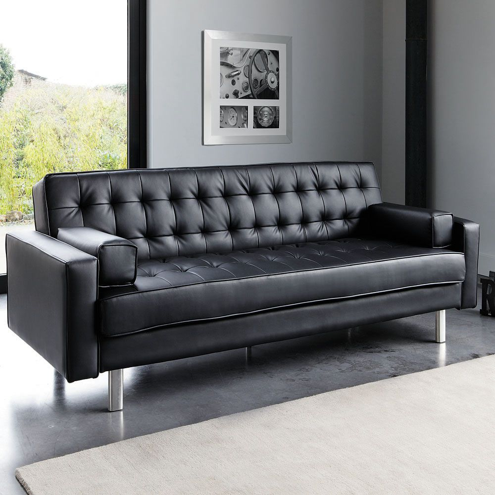 Canape Clic Clac Capitonne 3 Places Noir Sofa Cheap Sofas Sofa Design