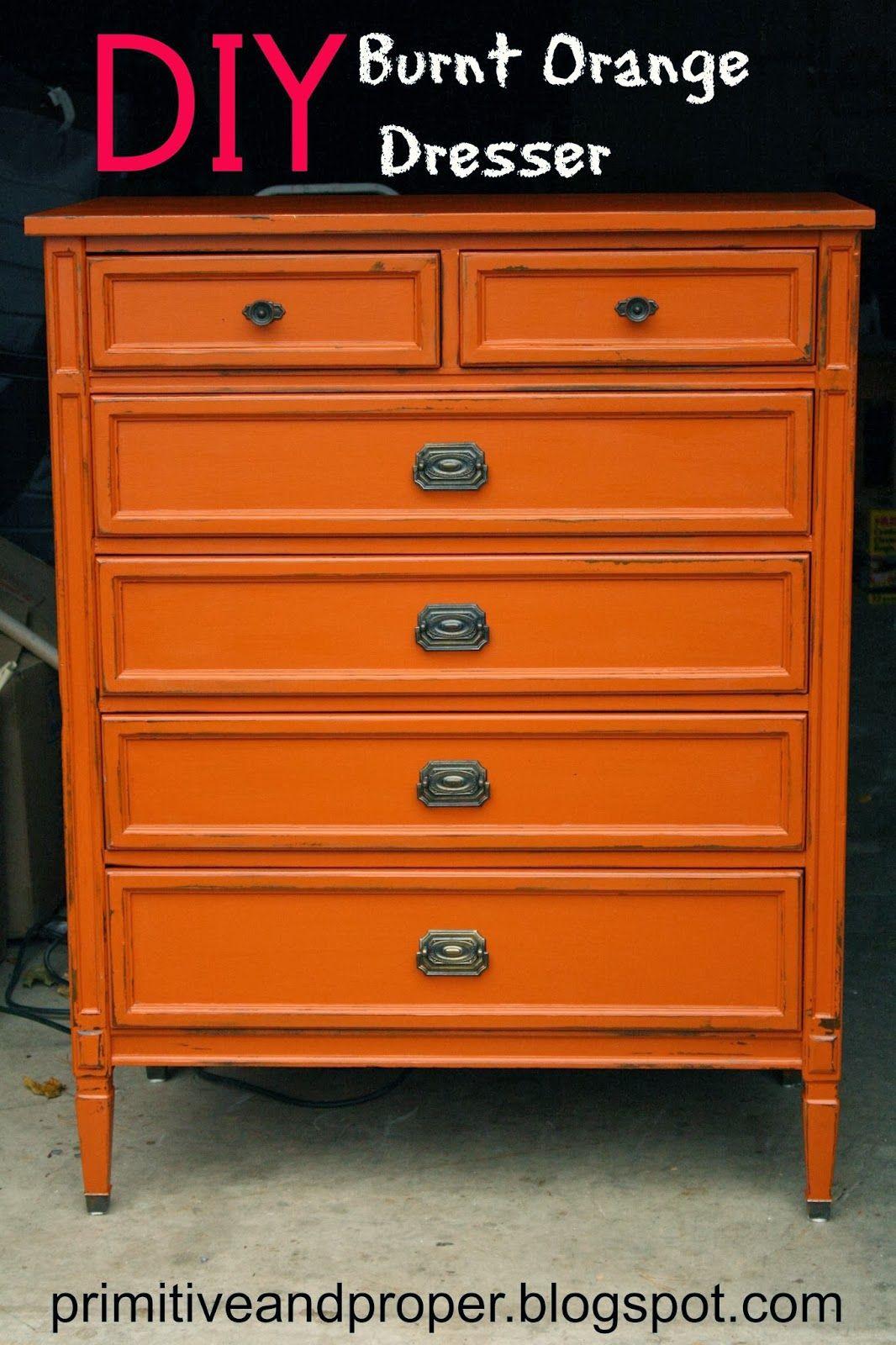 primitive  proper diy burnt orange dresser lightly distressed  - primitive  proper diy burnt orange dresser lightly distressed