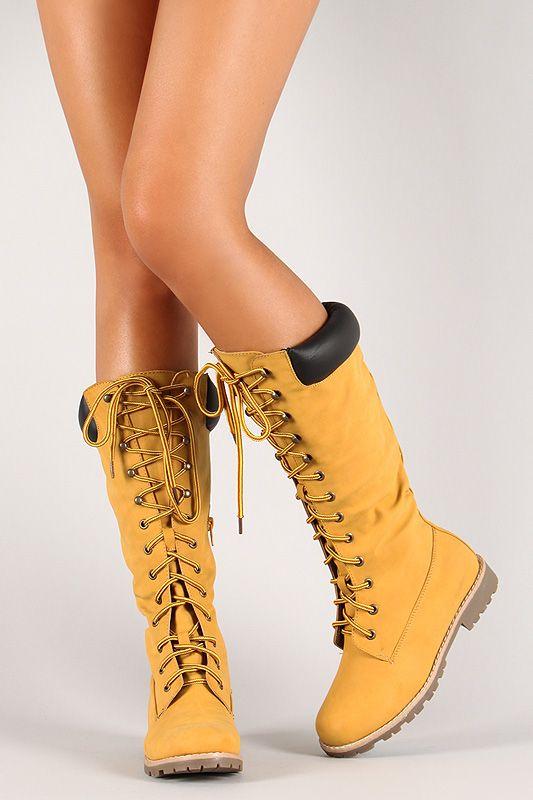 Knee High Low Heel Work Boot