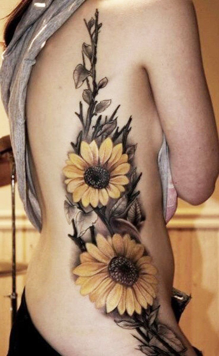 e69528d68 Realistic Colored Yellow Sunflower Floral Flower Side Rib Tattoo Ideas for  Women at MyBodiArt.com