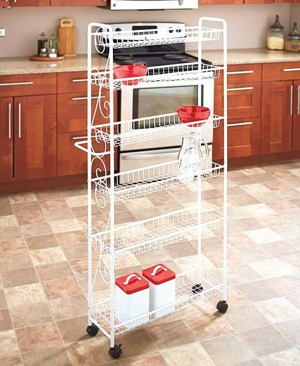 Pantry Cabinet On Wheels: Rolling Slim Pantry Organize Holder Kitchen Spice Storage