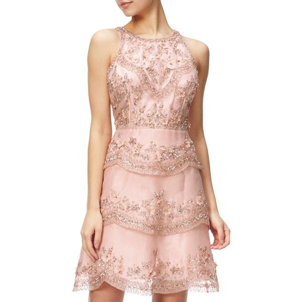6bba67a2 Adrianna Papell Halterneck Beaded Cocktail Dress, Rose Gold ($385) ❤ liked  on Polyvore