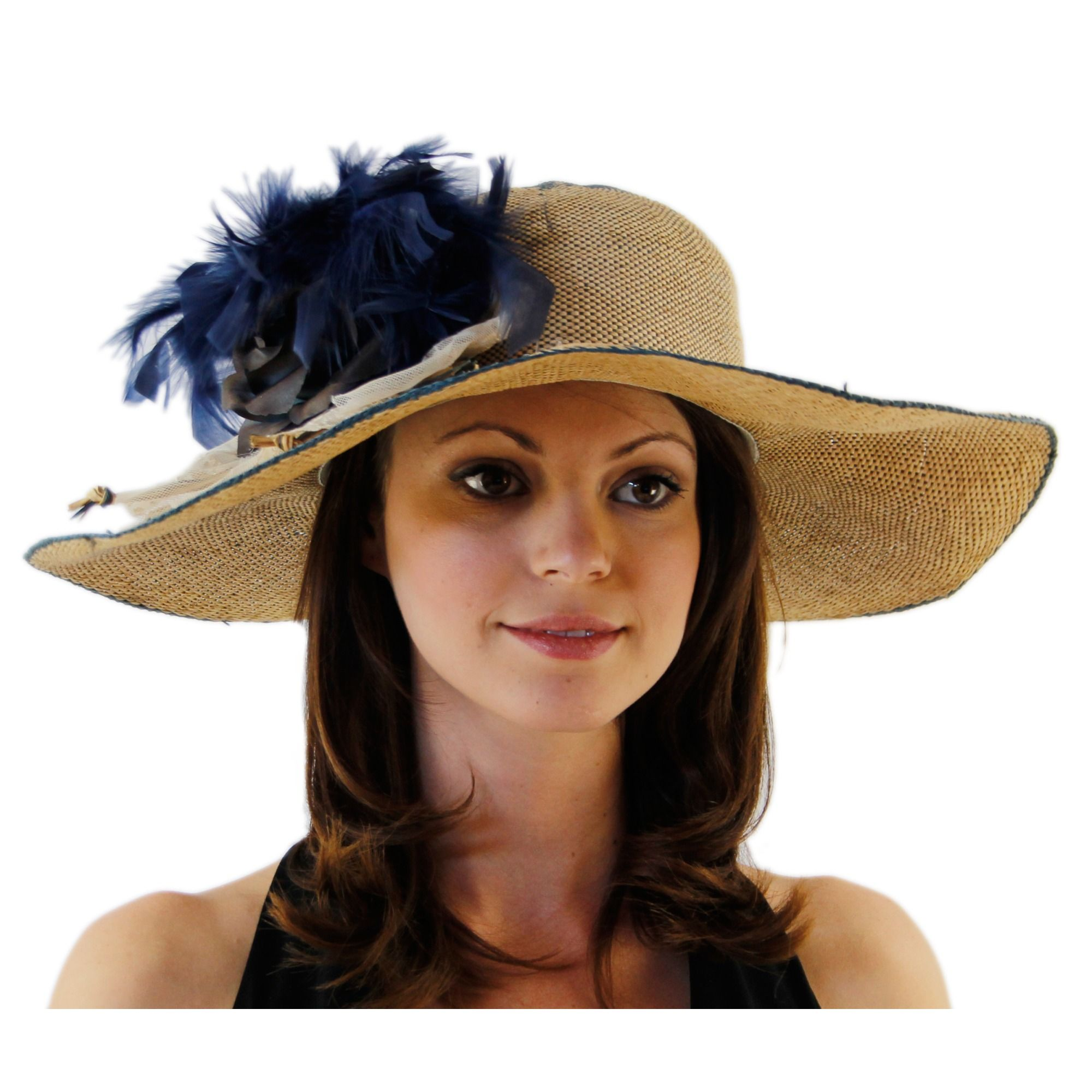 Deep Blue Sun Chic Two Toned Ladies Derby Hat with Rustic Lace $55