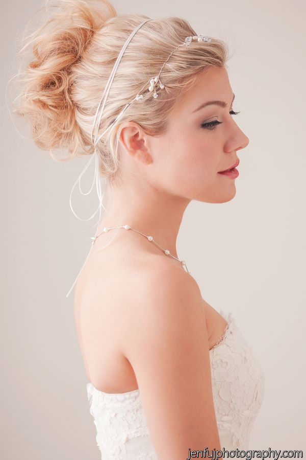 Our dainty Butterfly HairVine can be worn as as a bun wrap as well as a Halo!  Photo Credit: Jen Fuj Photography