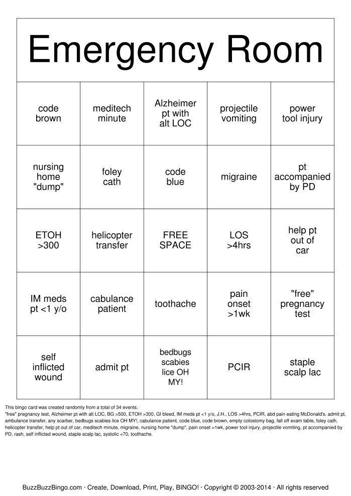 emergency room Bingo - Google Search Games Pinterest Nurses