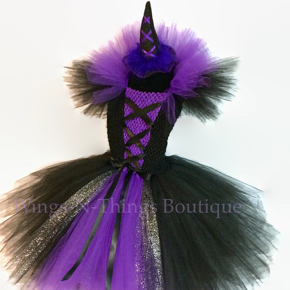 PURPLE WITCH COSTUME Tutu Dress Set w/ mini witch hat headband Wicked Halloween Toddler Girls Birthday Bad Birthday Purple Black by wingsnthings13. & PURPLE WITCH COSTUME Tutu Dress Set w/ mini witch hat headband ...