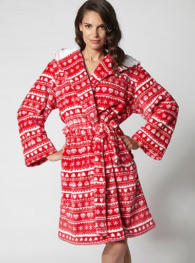 LoveItPinItShopIt Fairisle Hooded Robe - Red Mix | Boux Avenue ...