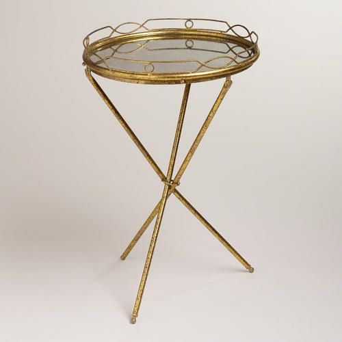 Gold Mirrored Butler Tray   Table Top Is Removable And Usable As A Tray